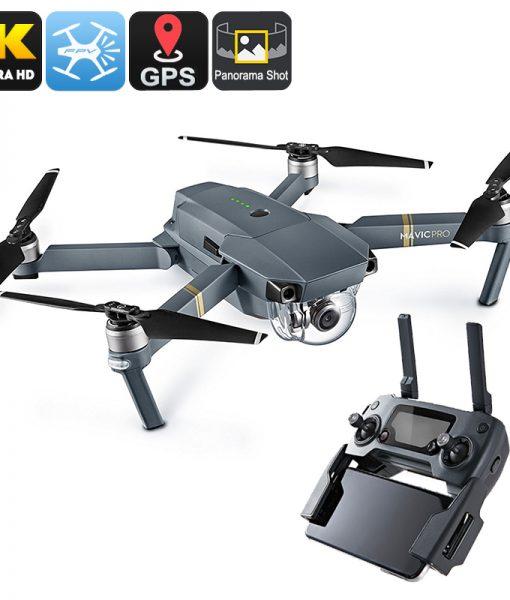 DJI Mavic Pro Camera Drone - GPS/GLONASS, Folding, 4 Mile Range, 4K Camera, 27Min Flight Time, 65Kmh, FPV