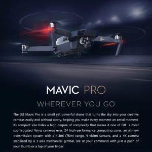 DJI Mavic Pro Camera Drone – GPS/GLONASS, Folding, 4 Mile Range, 4K Camera, 27Min Flight Time, 65Kmh, FPV 7