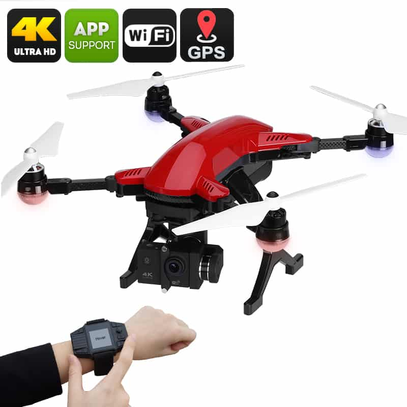 Drone Simtoo Dragonfly Pro - 4K Camera, Follow Me, Panoramic Shot, Foldable Design, Point Of Interest, Auto Hover (Red)