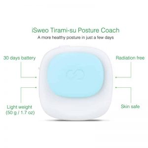 Posture Corrector ISWEO TIRAMI-SU - 30 Day Standby, Skin Safe, Radiation Free, No App, Magnetic Clip, Splashproof (Blue)