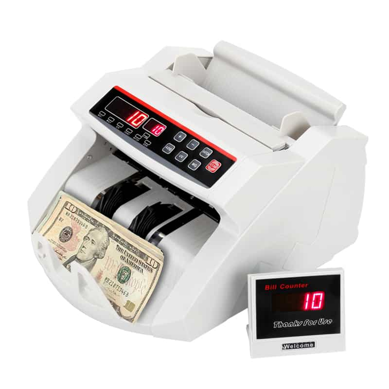 Professional Bill Counter- Automatic Counterfeit Detection with UV and MG, LCD Display, Total Count Voice Feature, 1000 Notes