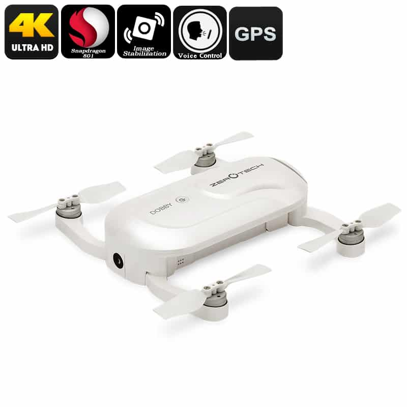 Dobby Folding 4K Camera Drone - 13MP Camera, Quad Core CPU, Image Stabilization, Auto Follow, Gesture + Voice Control, GPS