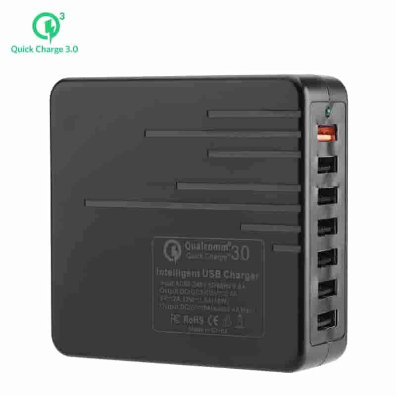 7 Port USB Charger - 1x Quick Charge 3.0, 6x USB 3.0, Power Switch, 140cm Cable, Durable Design