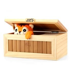 Desk Toy Useless Box - 10 Modes, Pine And Bamboo Box, Tiger Sounds, Power 3X AAA Batteriess