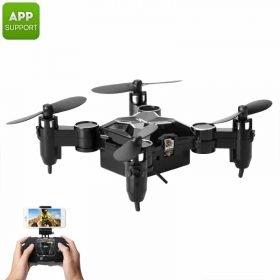 SMAO M1HS Mini Drone - 0.3MP Camera, FPV, App Support, WiFi, One Key Landing And Take Off, LED Lights, 220mAh (Black)