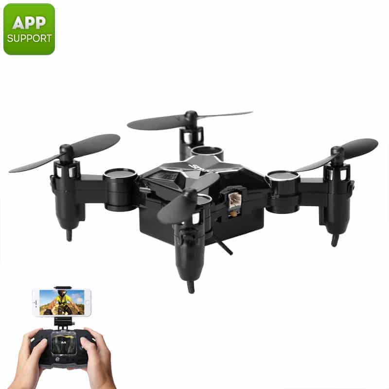 SMAO M1HS Mini Drone - 0.3MP Camera, FPV, App Support, WiFi, One Key Landing And Take Off, LED Lights, 220mAh (Black)