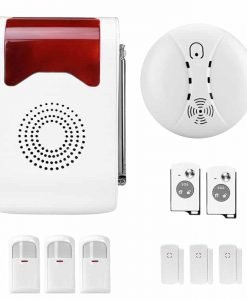Intelligent Home Security System - 3x Motion Detection, 3x Door Sensor, Smoke Detector, 2x Remote Control, SOS Feature