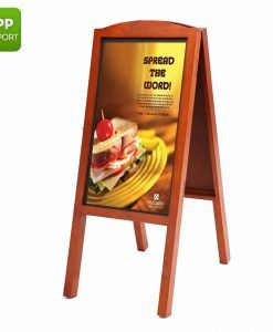 27 Inch Full HD Sign - Android OS, Wooden A-Board, Audio Out, iOS + Android App