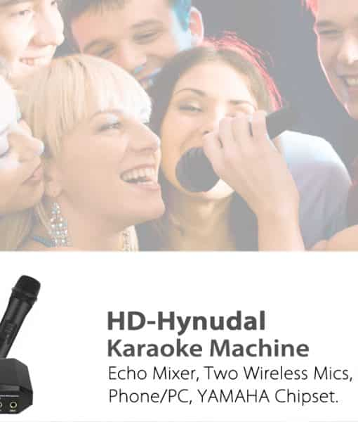 HD-Hynudal Karaoke Machine - Echo Mixer, Two Wireless Mics, YAMAHA Chipset, Supports Phone + PC