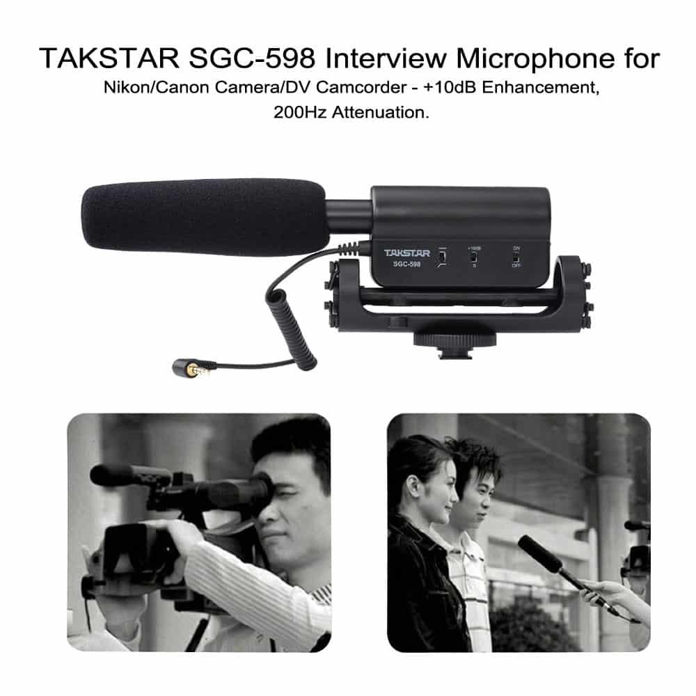 TAKSTAR SGC-598 Interview Microphone for Nikon/Canon Camera/DV Camcorder - +10dB Enhancement, 200Hz Attenuation.