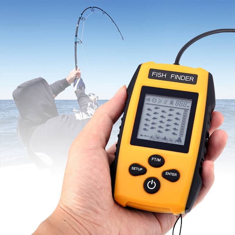 Portable Fish Finder - Sonar Technology, 100m Depth Range, Fish Alarm, Adjustable Sensitivity, Depth Scale, Fish Size Detection