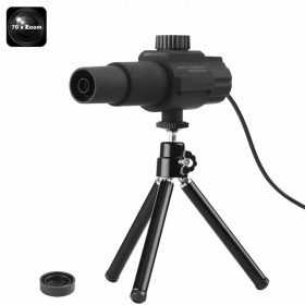 Portable Digital Telescope - Fixed 70x Zoom, 2MP Camera, Motion Detection, 2-Inch Viewing Angle, Tripod, For Daytime Use