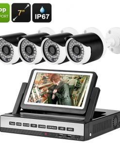 4 Channel DVR Kit - 7 Inch LCD Display, 4x 720P Waterproof Cameras, Motion Detection, Night Vision, Mobile Support