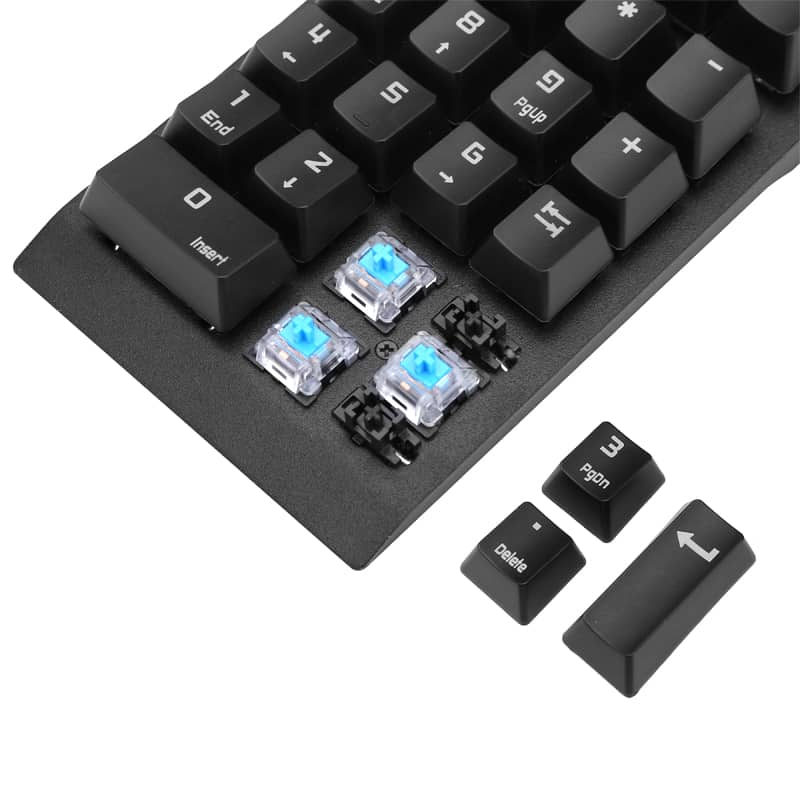 Numeric Keypad - 22 Keys, Blue Mechanical Key Switch, Plug And Play, USB 2.0, For Windows, Android, Linux, iOS
