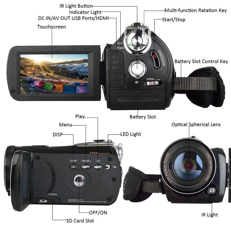 Ordro Full-HD Digital Video Camera - 1080p, 1/3 Inch CMOS Sensor, 3 Inch Touch Display, 18x Digital Zoom, Wi-Fi, Night Vision