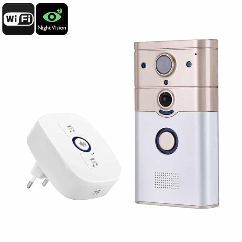 Video Doorbell Intercom - 1/4 Inch CMOS, 720p Video, Night Vision, IR Cut, PIR Sensor, 100-Degree Viewing Angle, Remote Access