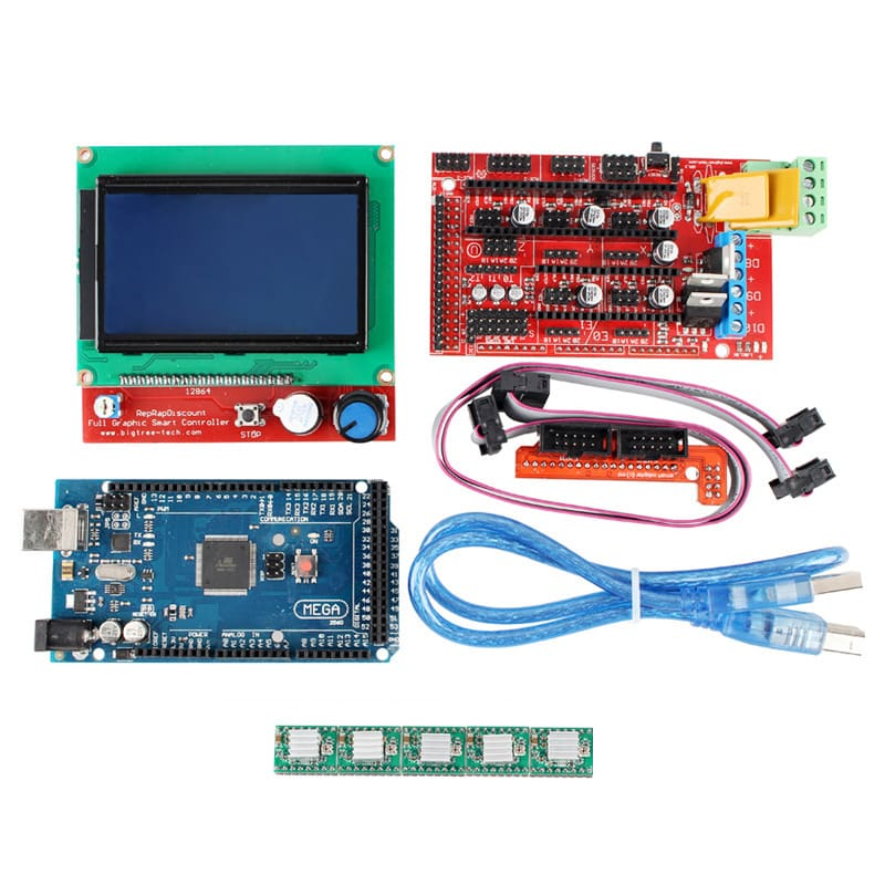 Arduino 3D Printer Controller Kit - Mega 2560 Board, 3D Printer Controller RAMPS 1.4 Board, 5 Steppers, SD Card Slot, 12V, 180W