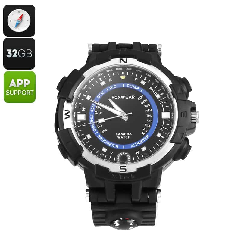 Foxwear FOX8 Outdoor Watch - 720p Camera, HD Video, 30FPS, 32GB Memory, Built-in Compass, WiFi
