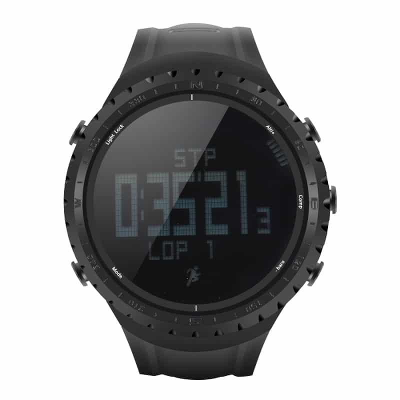 Sunroad FR801 Sports Watch - Waterproof, Pedometer, Calorie Counter, Thermometer, Barometer, Altimeter, Digital Compass (Black)