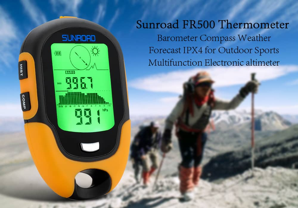 Sunroad FR500 Multifunction Outdoor Altimeter - Barometer, Compass, Thermometer, Hygrometer, LED Torch, IPX4