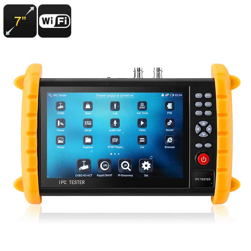 Surveillance Camera Tester - 7 Inch Display, ONVIF, Wi-Fi, Cable Tester, IP Scan, Ping Test, Port Flashing