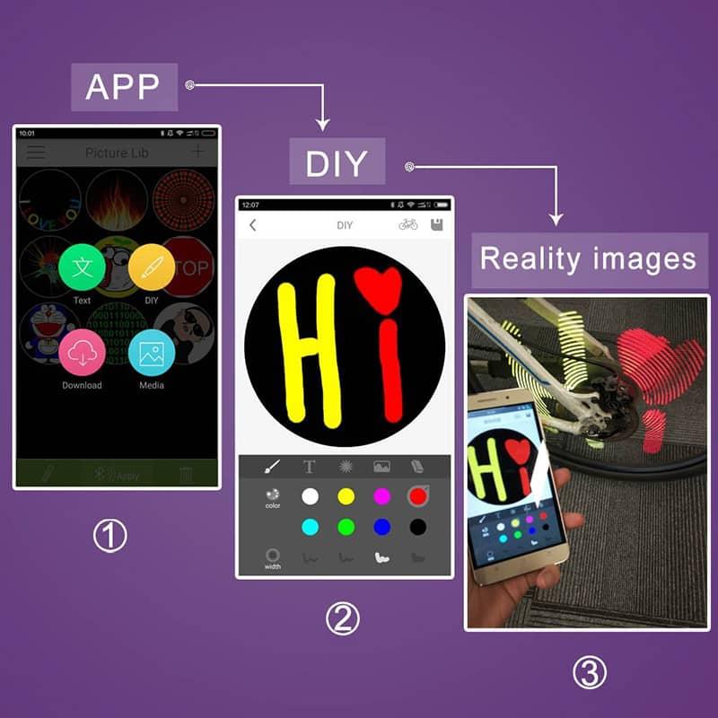 Xuanwheel X1 Bike Wheel Light - 196 RGB LEDs, iOS + Android App, 1950mAh Battery, Double-Side Display, DIY App Functions