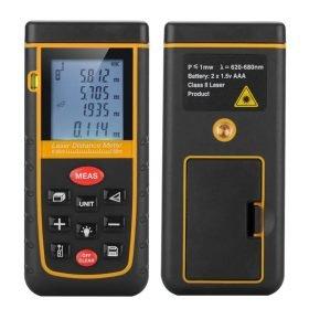 0.05 to 60M Laser Measuring Tool - Spirit Level, Carry Case, Wrist Strap, 1/4 Inch Tripod Thread