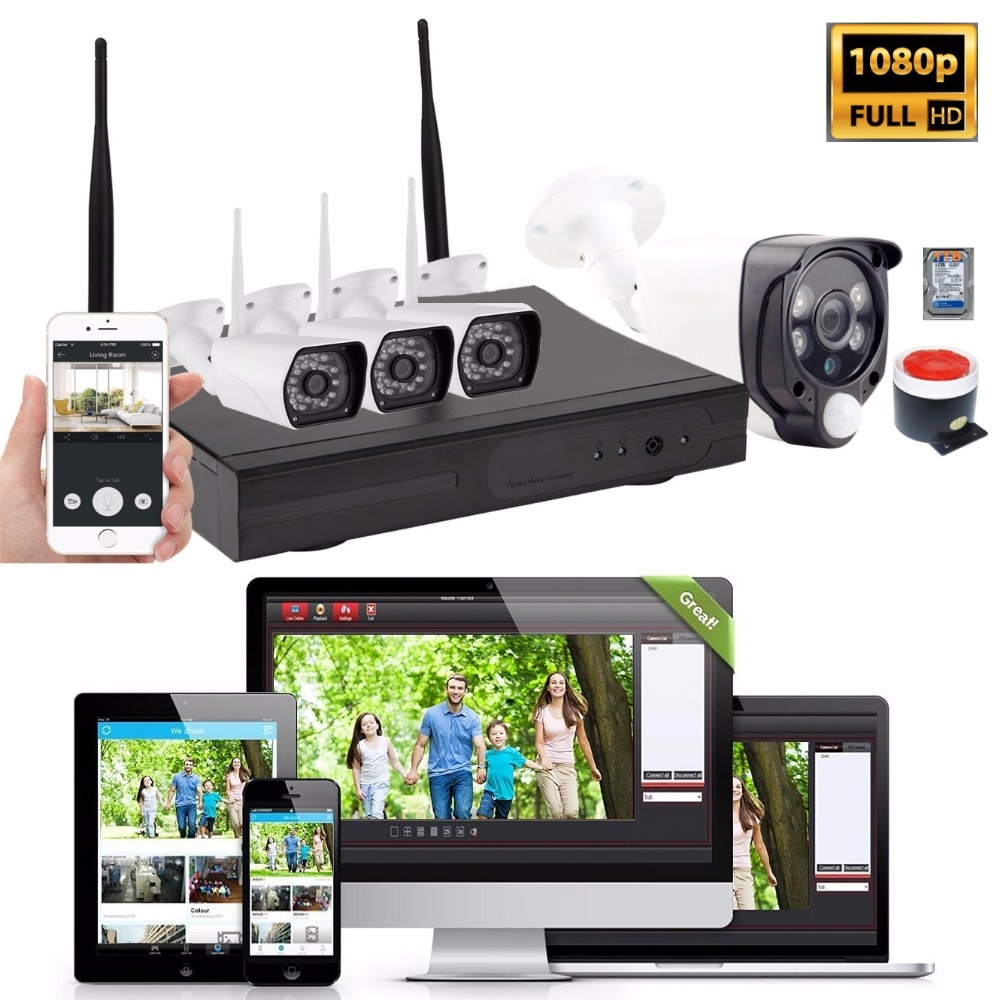 1080p 4ch Wifi Cameras Nvr Kit Wireless Home Security Alarm System A One Time Only Burglar